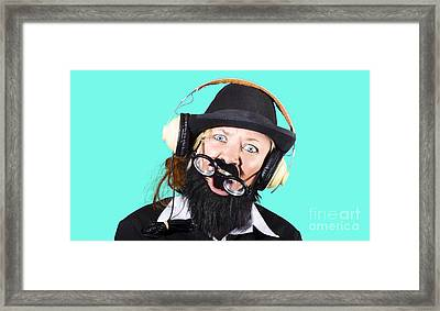 Crazy Woman With Headphones Framed Print by Jorgo Photography - Wall Art Gallery