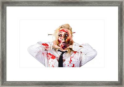 Crazy Zombie Business Woman In Struggle  Framed Print by Jorgo Photography - Wall Art Gallery