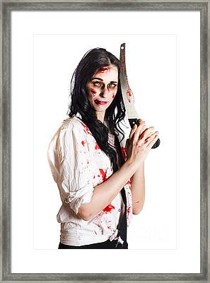 Crazy Zombie With Butcher Saw Framed Print by Jorgo Photography - Wall Art Gallery