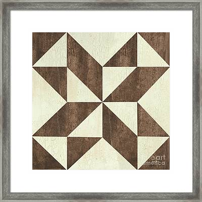 Cream And Brown Quilt Framed Print