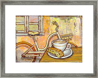 Cream Electra Town Bicycle With Cappuccino And Biscotti Framed Print by Mark Jones