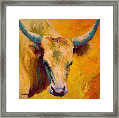 Creamy Texan - Longhorn Framed Print by Marion Rose