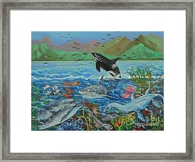 Creation Fifth Day Sea Creatures And Birds Framed Print by Caroline Street