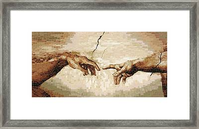 Creation Of Adam - Ceramic Mosaic Wall Artwork Framed Print by Mai Nhon