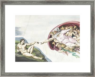 Creation Of Adam Copy Of Old Master Work Framed Print