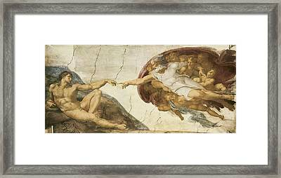 Creation Of Adam Framed Print by Michelangelo Buonarroti