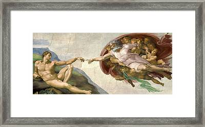Creation Of Adam - Painted By Michelangelo Framed Print