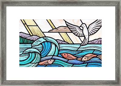 Creation Of The Sea And Sky Framed Print by Gilroy Stained Glass
