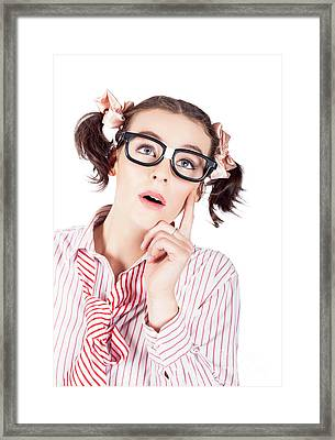 Creative And Thoughtful Young Business Woman Framed Print