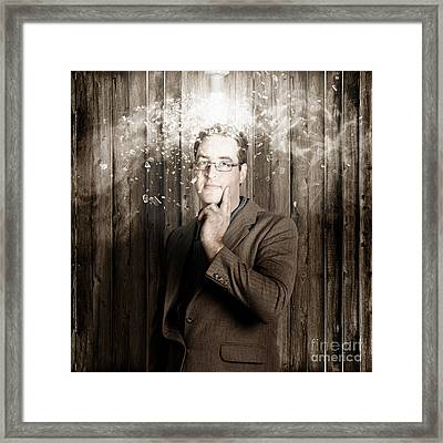 Creative Business Man With Bright Light Bulb Idea Framed Print