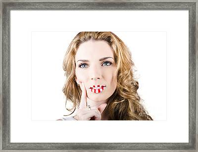 Creative Make-up Girl With Bright Lip Cosmetics Framed Print