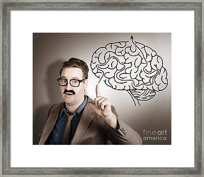 Creative Man Thinking Up Brain Illustration Idea Framed Print