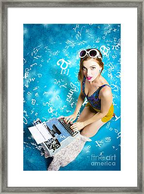 Creative Pin Up Novelist Framed Print