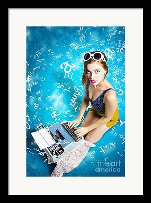 Novelist Digital Art Framed Prints