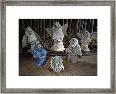 Creche Mary Joseph And Baby Jesus Framed Print by Nancy Griswold
