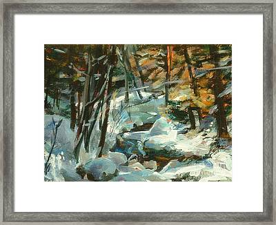 Creek In The Cold Framed Print by Claire Gagnon