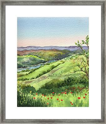 Framed Print featuring the painting Creek In The Hills Watercolor Landscape  by Irina Sztukowski