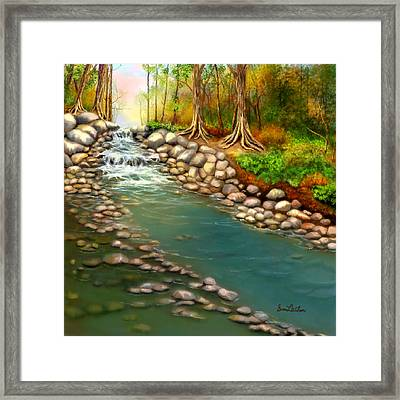 Framed Print featuring the painting Creek In The Spring by Sena Wilson