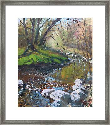 Creek In The Woods Framed Print by Ylli Haruni