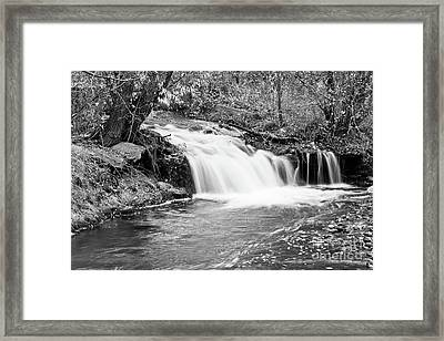 Creek Merge Waterfall In Black And White Framed Print