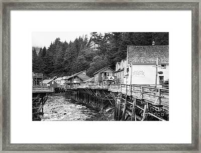 Creek Street In Ketchikan Bw Framed Print