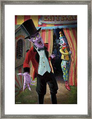 Framed Print featuring the painting Creepy Circus by Martin Davey