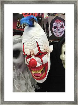 Creepy Clown Mask Framed Print by Art Block Collections