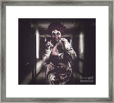 Creepy Medical Clown In Grunge Hospital Hallway Framed Print by Jorgo Photography - Wall Art Gallery