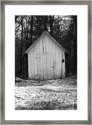 Creepy Old Shed In The Cemetary Framed Print by Edward Fielding