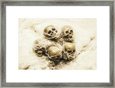 Creepy Skulls Covered In Spiderwebs Framed Print