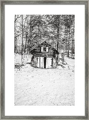 Creepy Winter Cabin In The Woods Framed Print