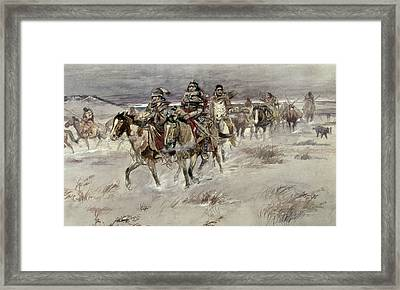 Crees Coming In To Trade Framed Print by Charles Marion Russell