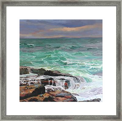 Creevy Storm 3, Waves Spill Over The Rocks Framed Print by Kevin Lowery