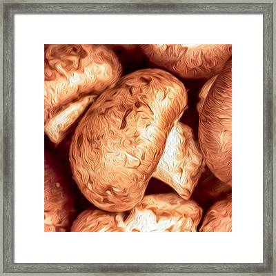 Cremini Mushrooms Kitchen Accent Square Framed Print by Dave Martin