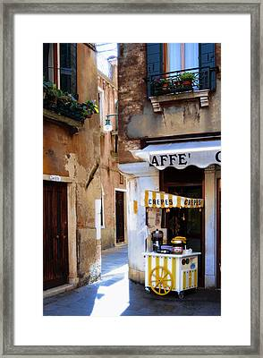 Crepes Cart Framed Print by Warren Home Decor