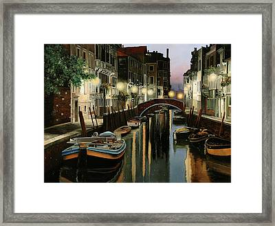 Crepuscolo In Laguna Framed Print by Guido Borelli
