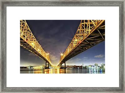 Crescent City Bridge In New Orleans Framed Print