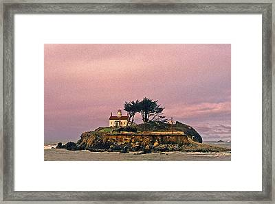 Attraction. Battery Point Lighthouse Framed Print featuring the photograph Crescent City Lighthouse by Nancy Hoyt Belcher