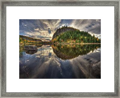 Crescent Lake Golden Hour Hdr Wide Pano Framed Print