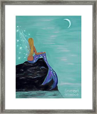 Framed Print featuring the painting Crescent Mermaid Moon Fairy by Leslie Allen