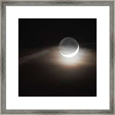 Crescent Moon And Earthshine January 2017 Square Framed Print by Terry DeLuco