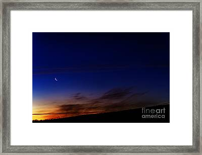 Crescent Moon And First Light Framed Print by Thomas R Fletcher
