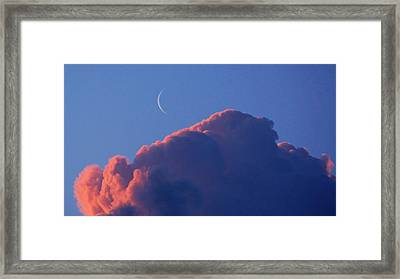 Crescent Moon In The Pink Framed Print