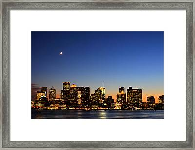 Crescent Moon Over Boston At Dusk From East Boston Framed Print by Toby McGuire