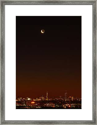 Crescent Moon Over Boston Framed Print