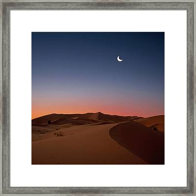 Crescent Moon Over Dunes Framed Print