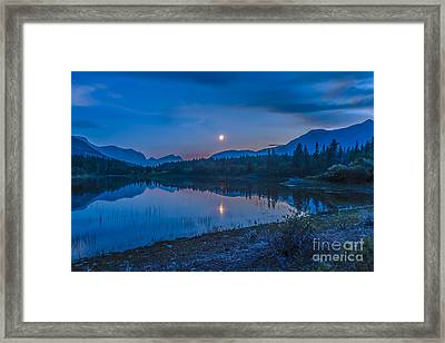 Crescent Moon Over Middle Lake In Bow Framed Print by Alan Dyer