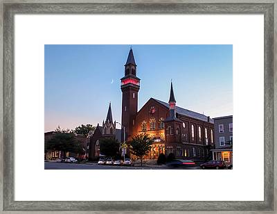 Crescent Moon Over Old Town Hall Framed Print
