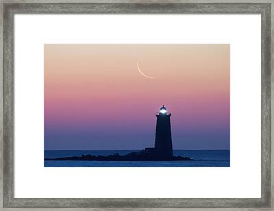 Crescent Moon Over Whaleback Framed Print by Eric Gendron
