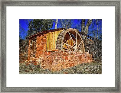 Crescent Moon Ranch Water Wheel Framed Print by Jon Burch Photography